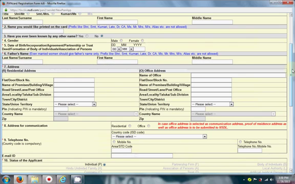 form fill pancard