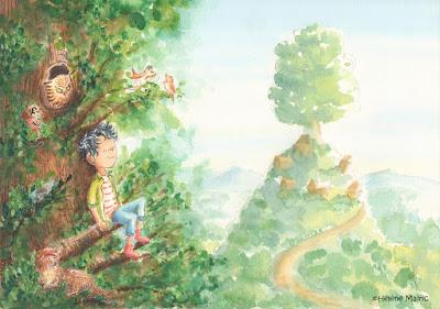 cooper, aquarelle, paysage, arbre