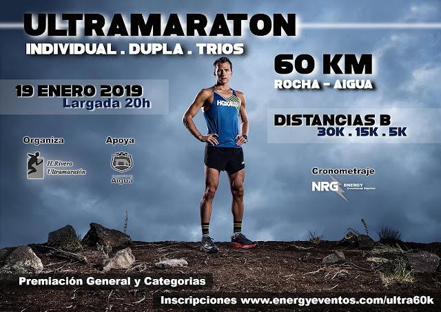 60k Ultramaratón Rocha - Aiguá (también 30k 15k 5k, 19/ene/2019)