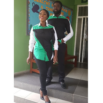 Mercy Johnson and hubby Odi Okojie step out in matching outfits