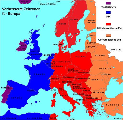 Europa, Zeitzonen, MEZ, UTC