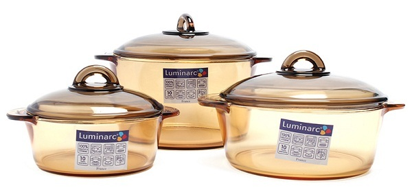 Bộ 3 nồi thủy tinh Amberline Luminarc LR2040.