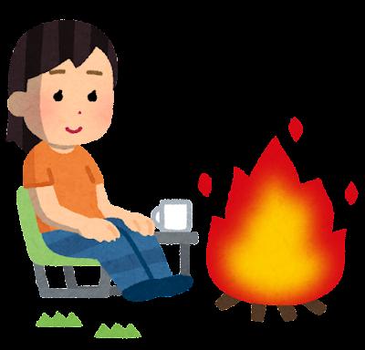 焚き火をしている人のイラスト(夏・女性)
