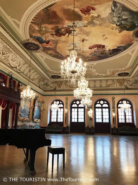 Latvia. House of Blackheads Riga, Celebration hall. Piano. The Touristin
