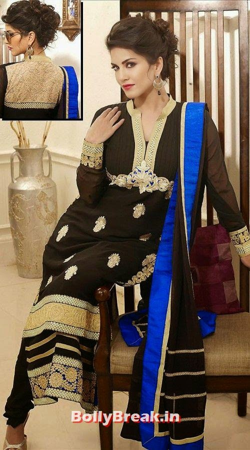 Sunny Leone in Black and Blue Anarkali, Sunny Leone Anarkali Churidar Pics, Sunny Leone in Indian Clothes