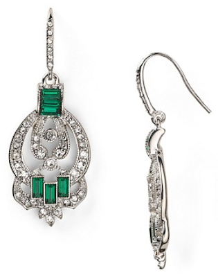Carolee Emerald Estates Linear Stone Set Drop Earrings. Via Diamonds in the Library.