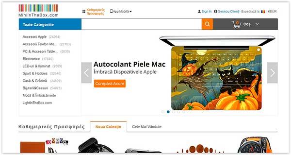 miniinthebox site web tradus integral în limba română