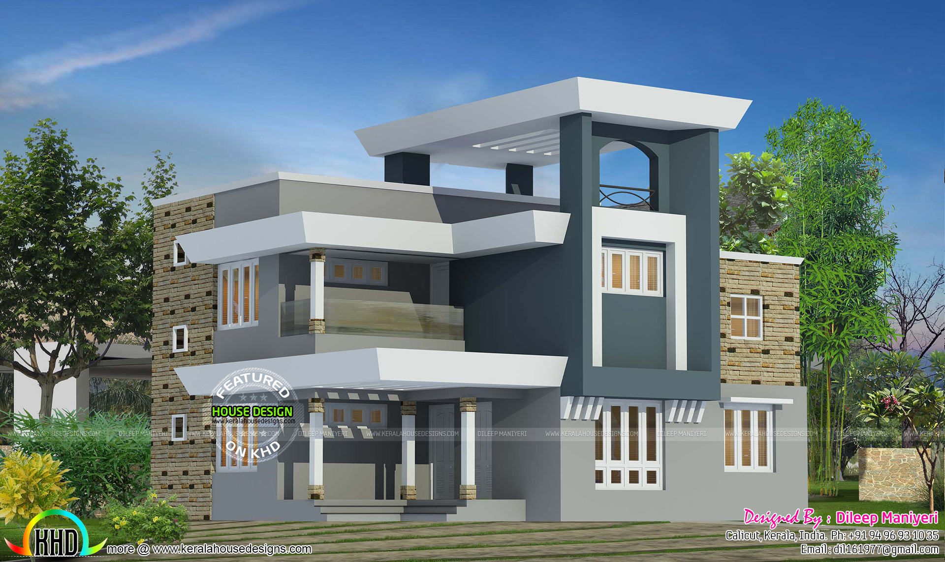2111 square feet modern home kerala home design and for Modern square house