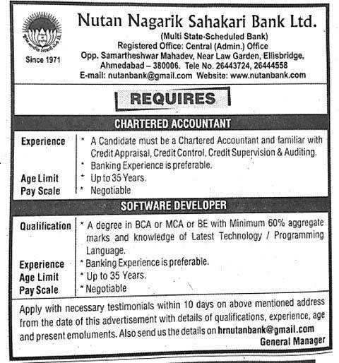 Nutan Nagarik Sahakari Bank Ltd Recruitment 2016 for Chartered Accountant and Software Developer