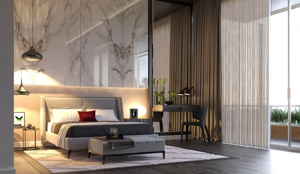 bedroom-pendants-red-pillow-marble-accent-wall