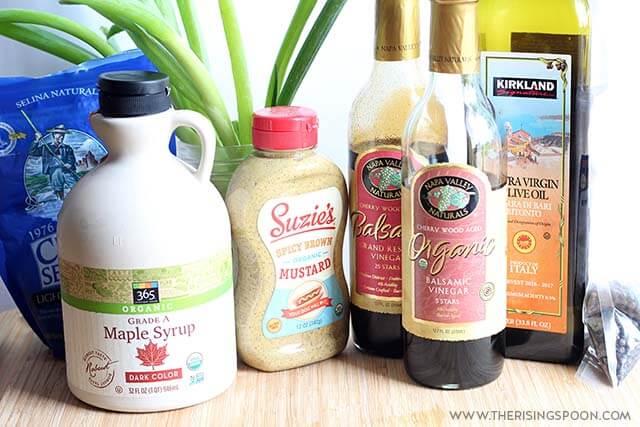 Ingredients For Homemade Maple Balsamic Vinaigrette Dressing