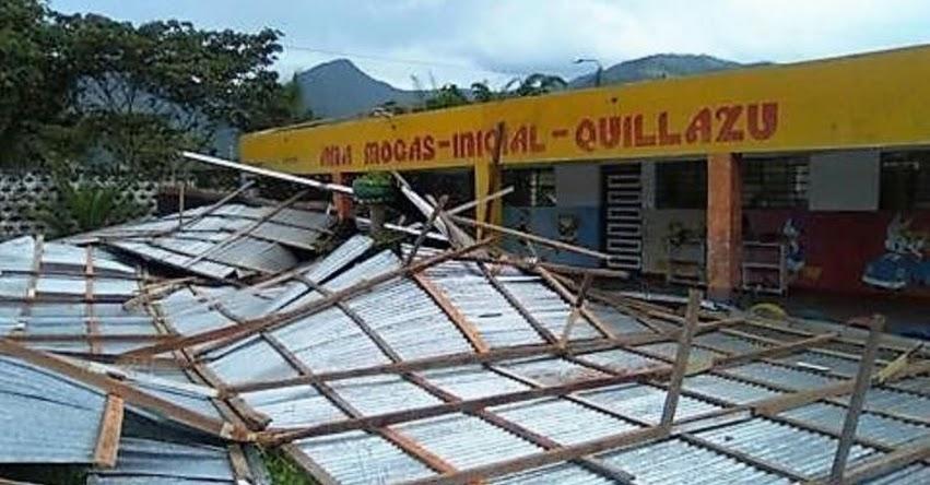 Vientos fuertes causan daños en techo de colegio en Oxapampa - Pasco