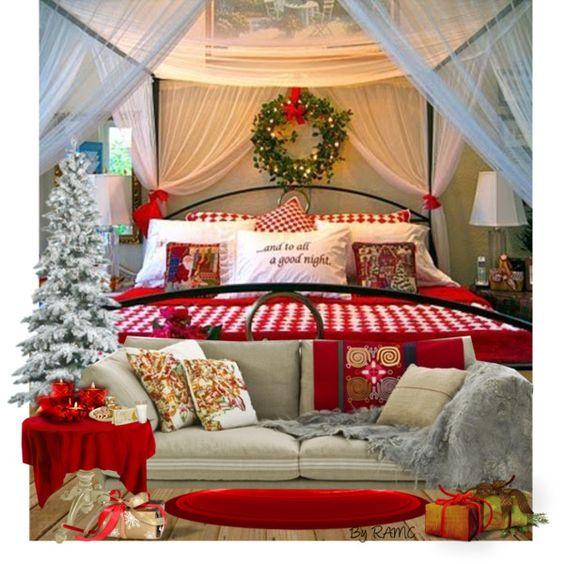 rustic bedroom decor ideas designs christmas holiday bedding | Christmas Stuff: 30 Christmas Bedroom Decorating Ideas on ...