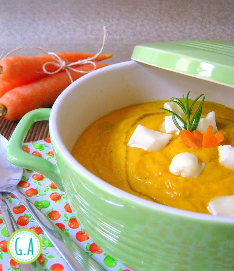 crema de zanahoria con queso de cabra