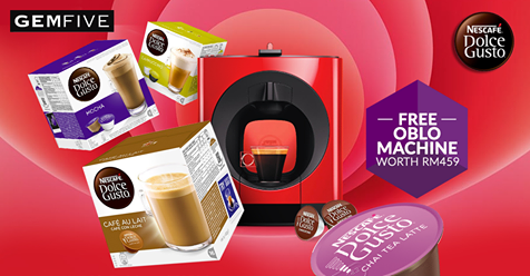 gemfive buy any 15 boxes of nescafe dolce gusto capsules free oblo coffee machine worth rm459. Black Bedroom Furniture Sets. Home Design Ideas