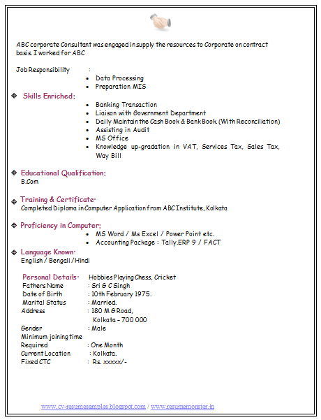 It Fresher Resume Format In Word Blogspot Over 10000 Cv And Resume Samples With Free Download Bcom