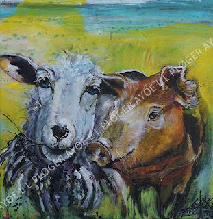Art, kunst, maleri, får, sheep,forår,noget-til-væggen,acryl,friends,gris, pig