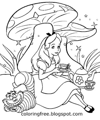 Fairytale easy picture Alice in Wonderland slurping tea magic drink coloring activity for older kids