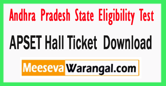 APSET Hall Ticket  Download 2017