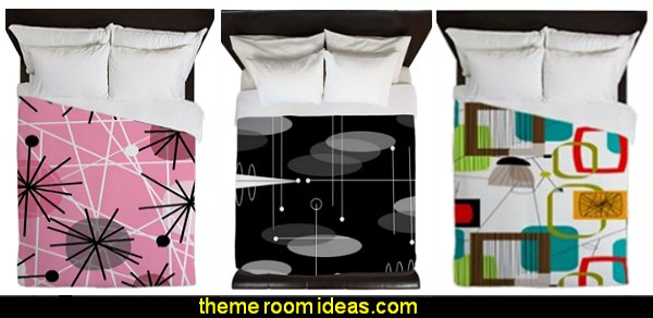 retro bedding mid century bedding  mod retro home decor  mid century modern bedroom