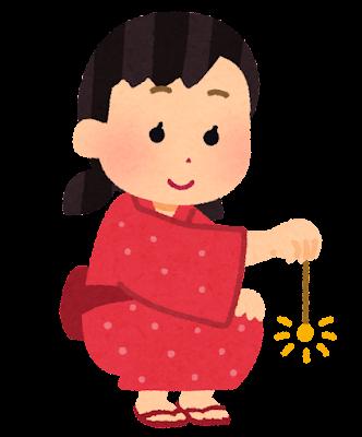 線香花火をする人のイラスト(女の子)