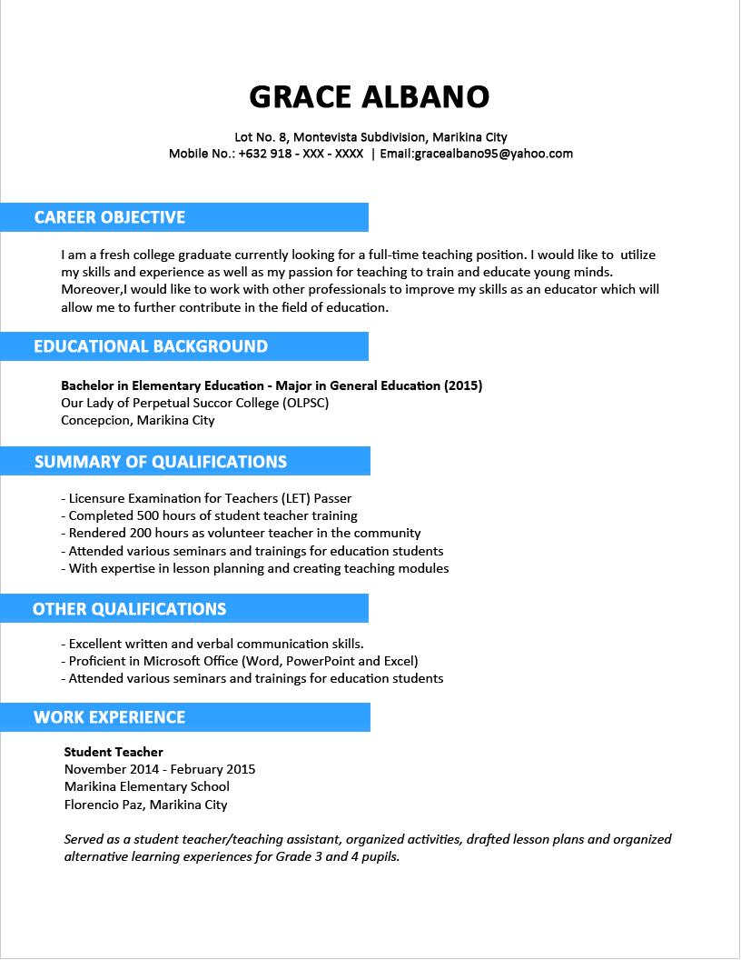 Format Resume Yang Baik Unc Career Services Resume Builder