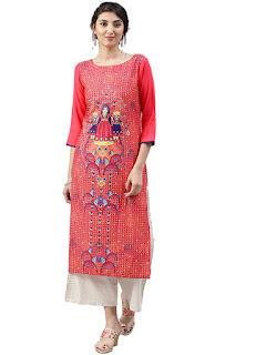 Vaamsi, Kurti-Kurta, Orange, Printed, Calf Length, Boat Neck, Three Quarter Sleeve, Regular Fit,