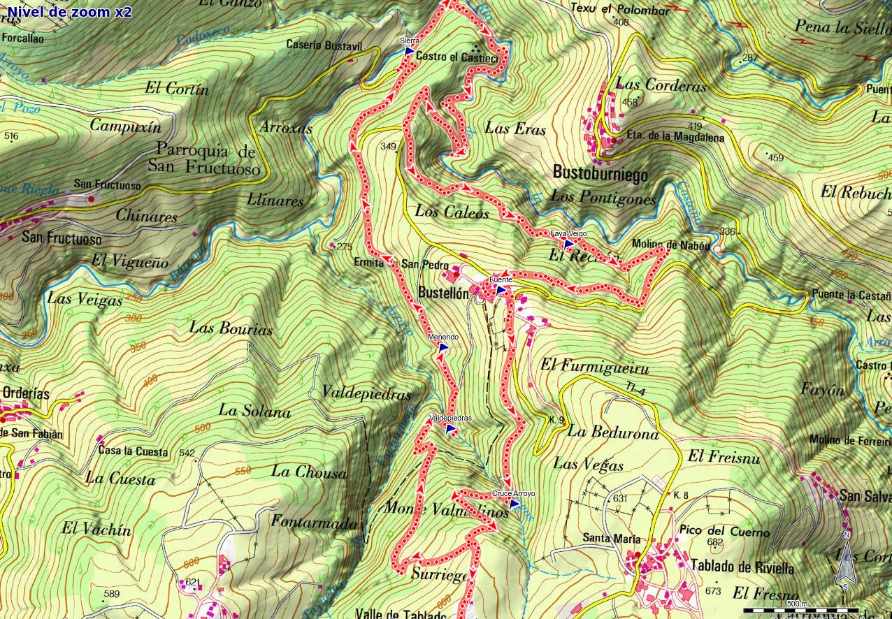 Mapa Senda Bustavil PR AS-288