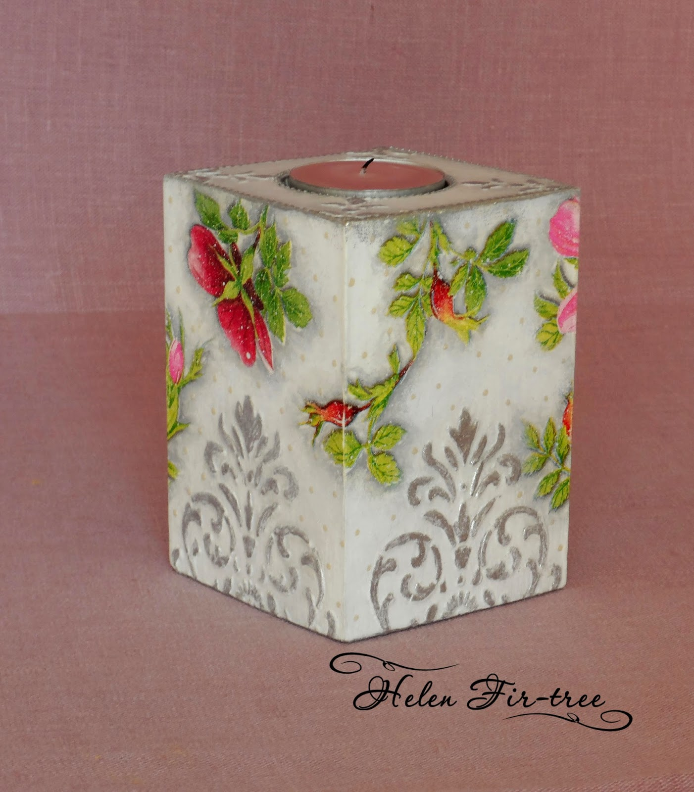 Helen Fir-tree декупаж подсвечник decoupage candle holder