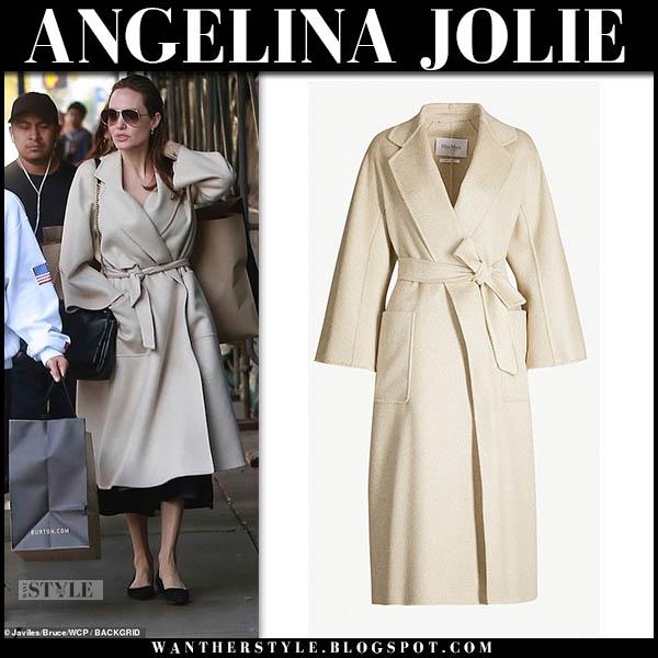Angelina Jolie in beige wrap max mara labbro coat celebrity street style december 22