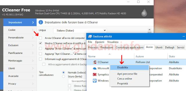 CCleaner 5.45 Impostazioni e Task Manager di Windows