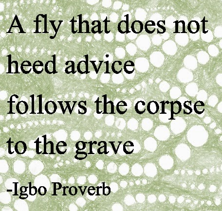 A fly that does not heed advice follows the corpse to the grave  - Igbo Proverb