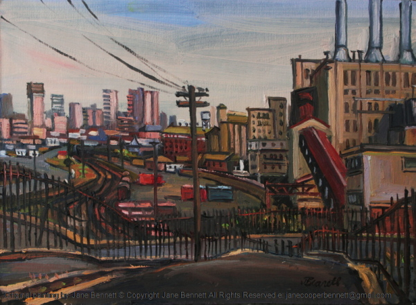 plein air oil painting of  Darling Island Goods Yard and Pyrmont Power Station by industrial heritage artist Jane Bennett