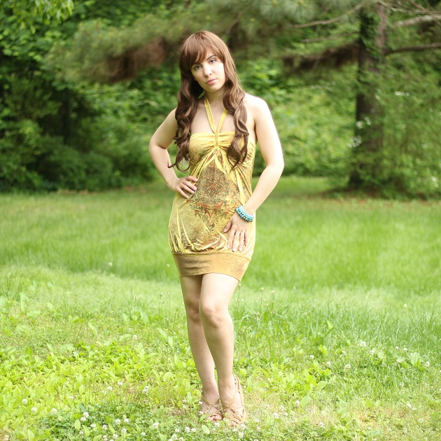 Yellow Print Mini Dress