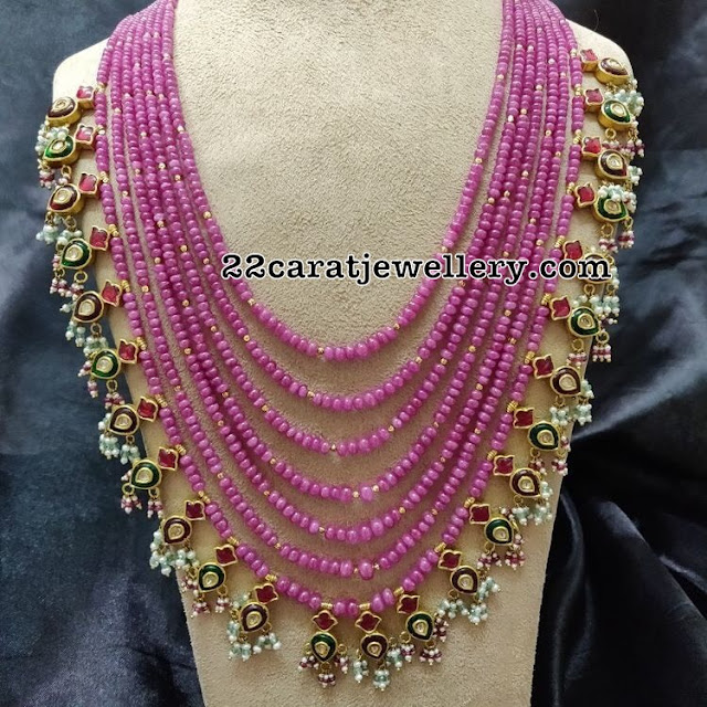 Multiple Layers Ruby Beads Set with Kundan