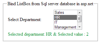 How to Bind/Load/Fill ListBox with Sql Server Database in asp net