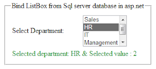 bind asp.net listbox control from Sql server database table
