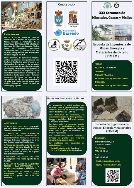 Díptico del XXX Certamen de minerales, gemas y fósiles. Escuela de Minas, Oviedo