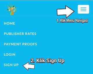 kik menu navigasi di kanan atas, klik menu sign up