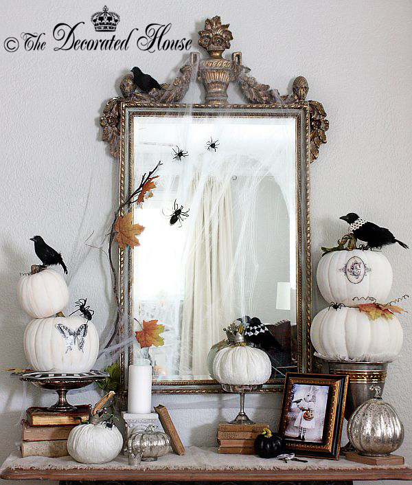 Halloween Decor Black and White with Mercury Glass The Decorated House