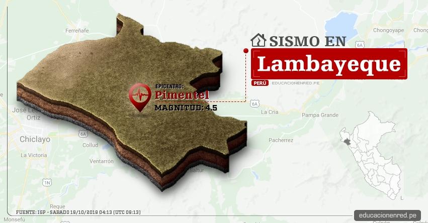 Temblor en Lambayeque de Magnitud 4.5 (Hoy Sábado 19 Octubre 2019) Sismo - Epicentro - Pimentel - Chiclayo - IGP - www.igp.gob.pe