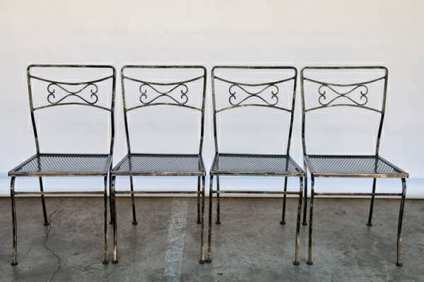 heygreenie: * 4 * WROUGHT IRON DINING ROOM CHAIRS * MID ...