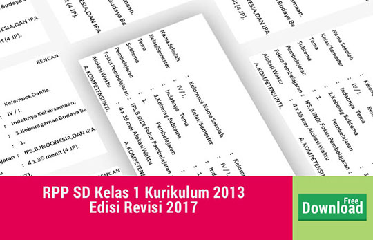 RPP SD/ MI Kelas 1 Kurikulum 2013 Revisi