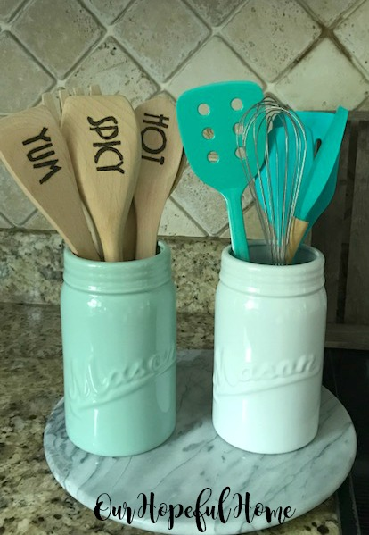porcelain mason jars farmhouse kitchen wooden spoons spatulas