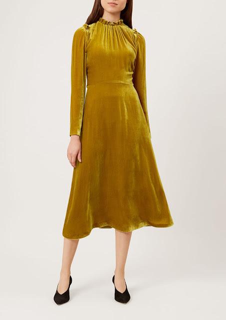 yellow velvet dress