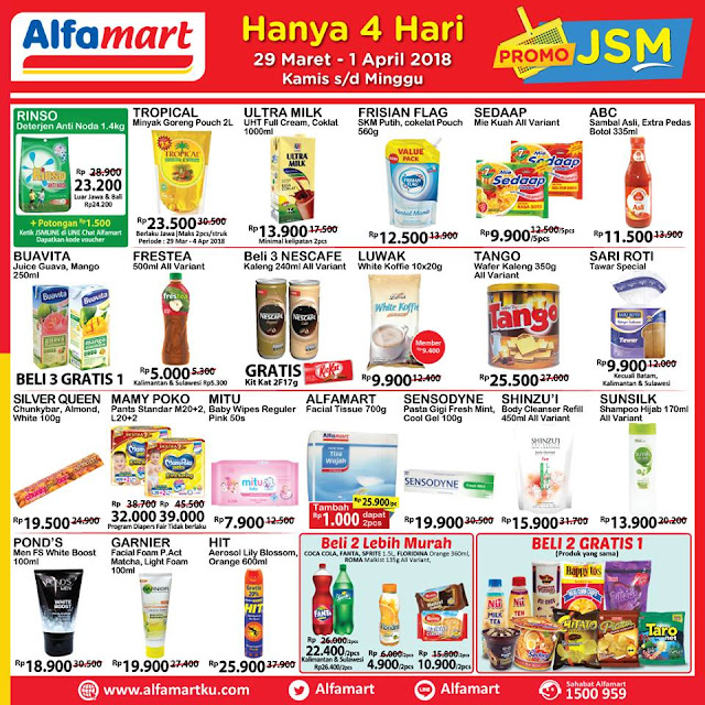 Katalog Harga Promo ALFAMART JSM Akhir Pekan 29 Maret - 01 April 2018