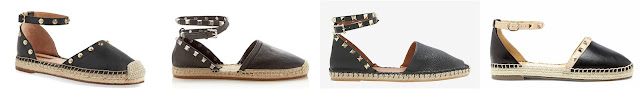 One of these pairs of studded espadrilles is from Valentino for $895 and the other three are under $175. Can you guess which one is the more expensive pair? Click the links below to see if you are correct.
