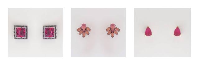 Brincos rosas Miguel Semijoias