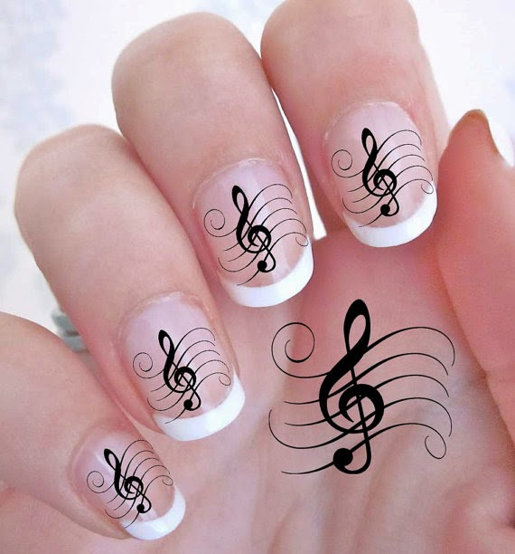 4 Imágenes De Decoración De Uñas De Notas Musicales Uñas Pintadas