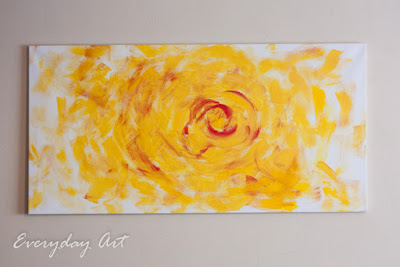Everyday art yellow flower abstract painting any painting is fun but there was something particularly releasing about getting a big ol canvas and a big ol paint brush and laying it on thick mightylinksfo